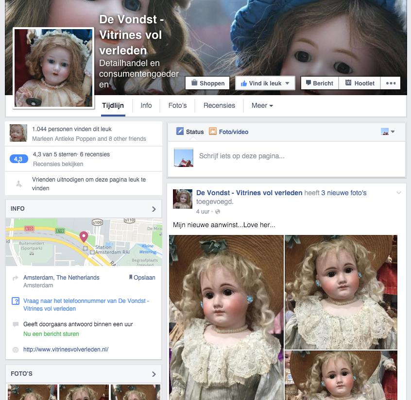 Antieke poppen van De Vondst - Vitrines vol verleden op Facebook